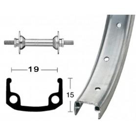 Front wheel 16 inch 305-19 steel silver rigid 20 hole Alu-box-type rim silver matt zinc spokes