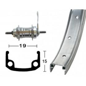 Rear wheel 16 inch 305-19RB hub silver 20L Alu-box-type rim silver matt zinc spokes