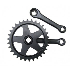 Kettenradgarnitur Stahl schwarz 125mm, 36 Zähne, 4-Kant