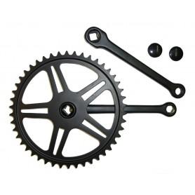 Kettenradgarnitur Stahl schwarz 170mm, 46 Zähne, 4-Kant