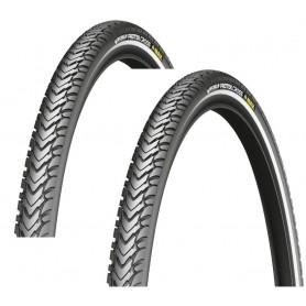 2x Michelin Protek Fahrradreifen, schwarz, Reflex, Draht, alle Größen