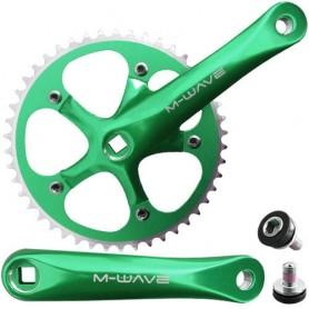 Fahrrad Kurbelsatz Single Speed 1-fach 46Z 165 mm 5-Arm Alu grün eloxiert