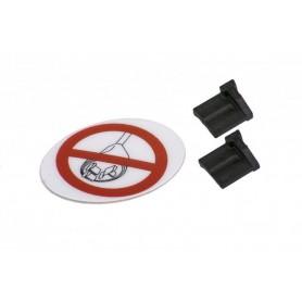 Kit Blindstopfen Ladebuchse, 2 x Blindstopfen and 1 x Sticker zum Versiegeln nicht verwendeter Ladebuchsen am eBike