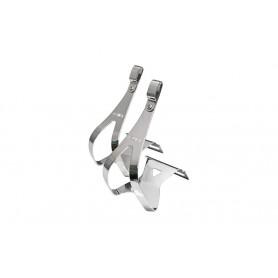 MKS Pedalhaken, Stahl, verchromt FLACHE Ausführung, mit Öse für Riemen, Größe L